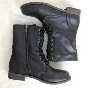 Rampage Jiminy Black Heeled Lace Up Combat Boots